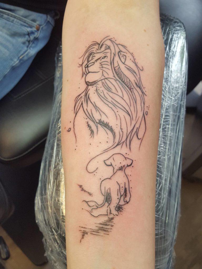 könig der löwen tattoo  tattoostudio sascha kirsch